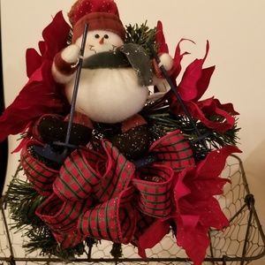 Wire Basket decorated with Snowman